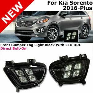 For 16-18 Kia Sorento Front Lower Bumper 4 Eyes Fog Lights Black With LED DRL