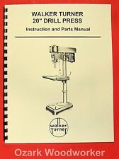 Walker Turner 20 Drill Press Operators Amp Parts Manual 0757