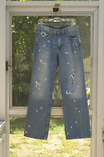 BKE Marshall Size 31 Destroyed Wide Leg Uneven Bleach Wash Splatter Denim Jeans