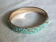 Beautiful Collectible Bangle Bracelet Gold Tone Turquoise Braid 1/2 x 2 3/4 NICE