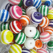 New 100pcs 20mm Jewelry Resin Stripe Chunky Beads Bubblegum Ball Necklace Color