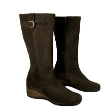 Aquatalia Womens 8.5 Tall Suede Boots Brown Shearling Lined Side Zip Wedge Heel