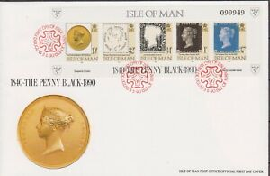 GB ISLE OF MAN 1990 The Penny Black/QV Sheetlet SG 442-446 FDC STAMPS ON STAMPS
