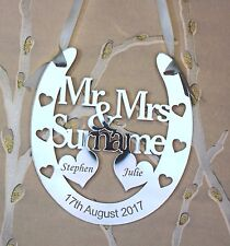 Mr & Mrs  Personalised Wedding Horseshoe ***FREE GIFT BAG***