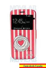 Funda tapa libro soporte y ventana Samsung G925 Galaxy S6 Edge Love rosa corazón