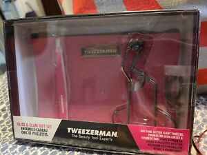 New Tweezerman Glitz & Glam Gift Set Hot Pink Tweezers Cosmetic Pouch Curler