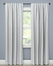 "Small Check Window Curtain Panel Threshold Gray Blackout 84"" x 50"""