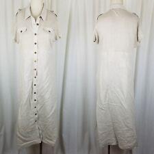 Boston Proper Linen Military Safari Knit Maxi Shirt Dress Womens M Vintage Tan
