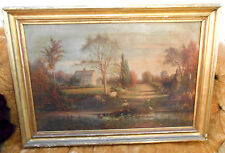 "Large 1865 Prang Chromolithograph on Canvas ""Birthplace of Whittier"" Thomas Hill"