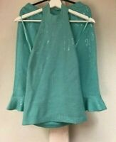 St. John couture 2 pcs set suit skirt size 6 + top size 6 in blue turquoise knit