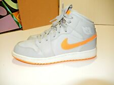 Air Jordan 1 Mid Wolf Grey Bright Citrus White Gs 554725-008 size 6Y Use 1 Time