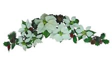 "White Poinsettia 35"" Swag Wall Door Arch Decors Christmas Flower"