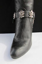 Women Men Western Boot Silver Chain Pair Black Leather Strap Rose Flowers Charms