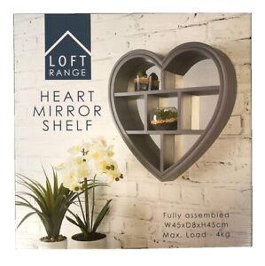 Heart Shaped Mirror Shelf Wall Mounted Flosting Shelves Home Decor Grey 45x45cm