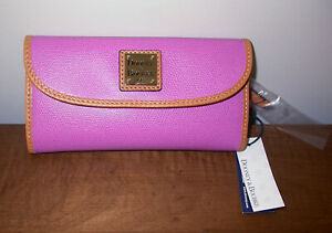 Dooney & Bourke Textured Leather Continental Clutch Wallet Lilac WCLAR0507 NWT