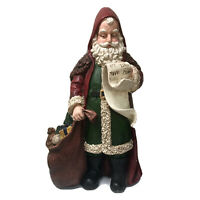 """Santa Claus with List and Sack Of Toys 13"""" Figurine Vintage Style Christmas"""