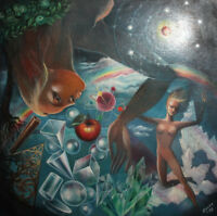 1998 Surrealist portrait nude figures oil painting signed