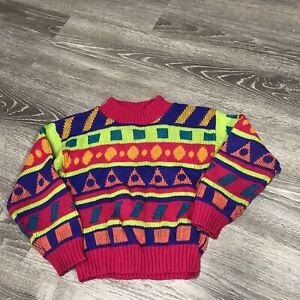 Vintage 80s 90s Jet Set Kids Large 6 Pullover Sweater Snow Neon Fun USA