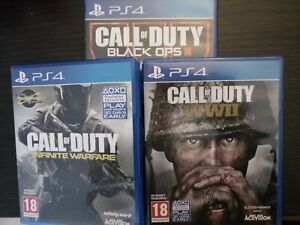 LOTTO  3 TITOLI COD CALL OF DUTY BLACK OPS 3 III + INFINITY WARFARE + WII UK PS4