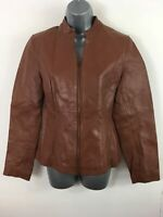 WOMENS IMAGES WARM BROWN REAL LEATHER ZIP UP SMART CASUAL JACKET COAT UK 12