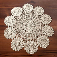 Beige Vintage Hand Crochet Lace Doily Round Floral Table Topper 33-35inch