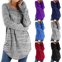 Plus Size Women Long Sleeve T Shirt Irregular Hem Casual Loose Tunic Top Blouse