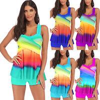 Plus Size Womens 2Pcs Tankini Swimdress Padded Push Up Swimsuit Beach Swimwear