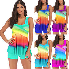 ba1c29d887b90 Plus Size Womens 2Pcs Tankini Swimdress Padded Push Up Swimsuit Beach  Swimwear