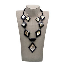Buffalo Horn Necklace Set Diamond Shaped Pendants Handmade Earrings and Jewelry