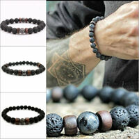 Natural Lava Rock Elastic Stone Beads Yoga Bangle Men Women Bracelets 18.5cm