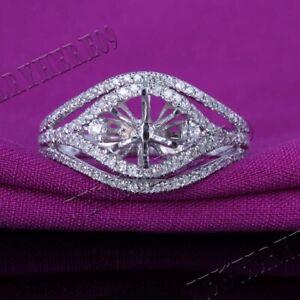 Unique Engagement Natural Diamond Semi Mount Fine Ring 6mm Round 14K White Gold