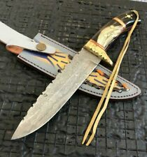 "SUPERB 11"" HANDMADE DAMASCUS STEEL HUNTING KNIFE W/SHEATH(NEEDS RESTORATION)5-1"