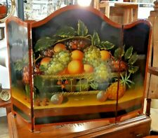 Early 20th Century  3 Panel Fire Screen Painted with a Still Life of Fruit