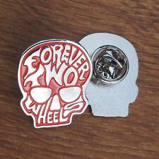 Motorcycle Biker Jacket Vintage Kutte Enamel Pin Badge FOREVER TWO WHEELS Skull