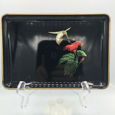 Vintage Otagiri Japan Lacquerware Black Hummingbird Hibiscus Tray 8