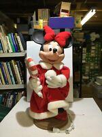 "Vtg Disney Santa's Best Christmas Minnie Mouse 24"" Animatronic Animated"