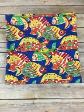 Pomegranate Lexington KY Tablecloth Fish Tropical Blue Green Cotton 55x55 Fabric