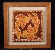 Mexican Hanging Ceramic/Pottery Wood Frame Folk Art Collectible P Pajarito Fish