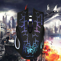 LED Backlight 3200 DPI Optical Wired Gaming Mouse Gamer Mice For PC Black