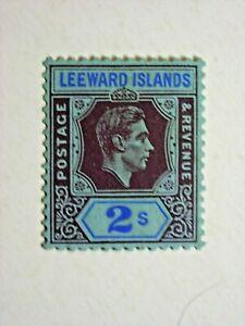 LEEWARD ISLANDS 1938 2/- REDDISH-PURPLE & BLUE/BLUE FINE MINT SG111 CAT £32