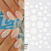 3D Nail Stickers Beautiful White Flower Nail Art Transfer Decals Paper Decors