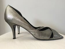 Classic Women's Silver JONES BOOTMAKER Open Peep Toe Sandals Heels Shoes -Sz 7