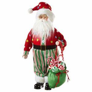 """Raz Donut Open Til Christmas 19.25"""" Santa w/Bag of Lollipops Figurine"""