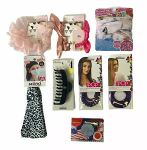 Lot of 8 Assorted Girl's Hair Accessories, Scrunchies, Headbands, Clips