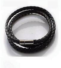 Vintage Mens Wristband Bracelet Womens Leather Interlaced Cuff Bangle multilayer
