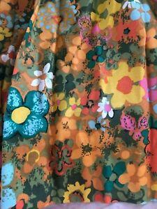 Vintage Curtains 2 Panels Pinch Pleat Flowers Groovy EUC Orange Blue Pink Boho 7