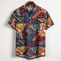Summer Mens Ethnic Short Sleeve Cotton Linen Printing Hawaiian Shirt Blouse