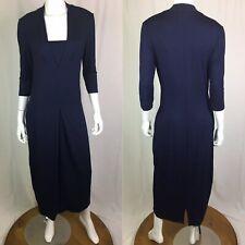 Vintage Karen Klein Women's Medium Navy Stretchy Pleated Sailor Midi 90's Dress