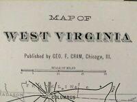 "WEST VIRGINIA 1901 Vintage Atlas Map 22""x14"" ~ Old Antique CHARLESTON BELLE"