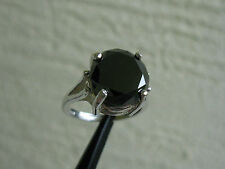 5.22ct NATURAL BLACK DIAMOND RING SOLITAIRE w/APPRAISAL,FREE DIAMOND TESTER,REAL